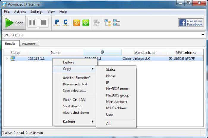 Advanced IP Scanner v2.3.2161 context menu options