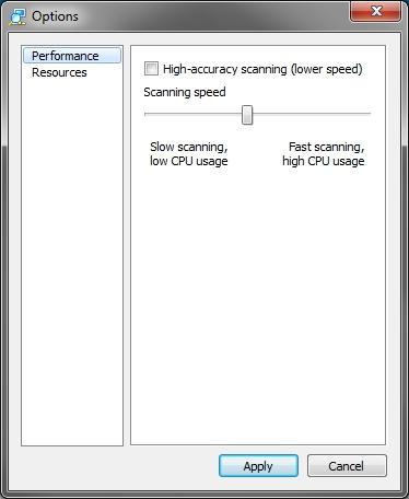 Advanced IP Scanner v2 performance options