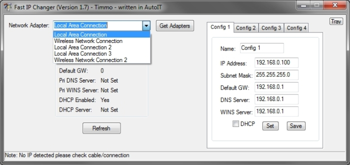 Fast IP Changer interface