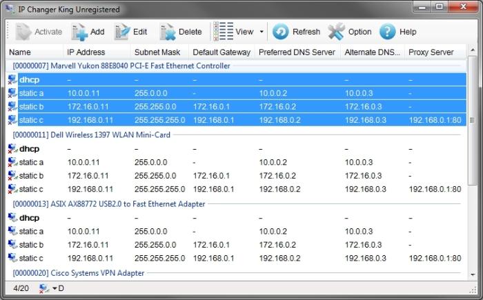 IP Changer King main interface