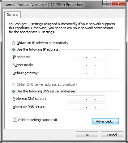 Windows IP settings interface