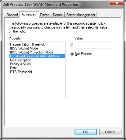 Change MAC address in Windows 7