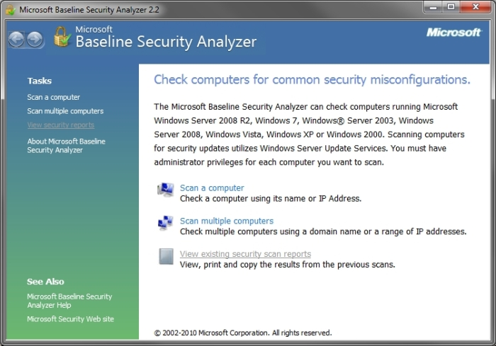 Microsoft Baseline Security Analyzer interface