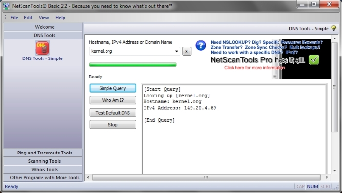 NetScanTools Basic interface