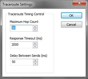 NetScanTools Basic traceroute options