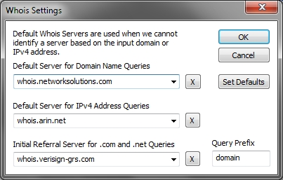 NetScanTools Basic whois options