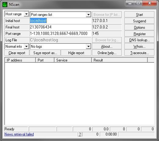Main Nscan user interface