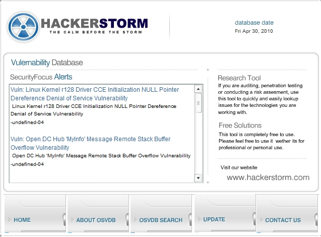 HackerStorm OSVDB main interface