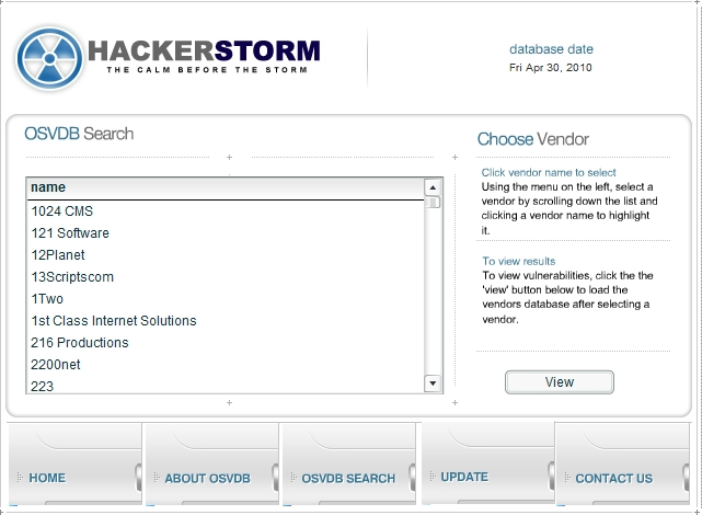 HackerStorm OSVDB search function
