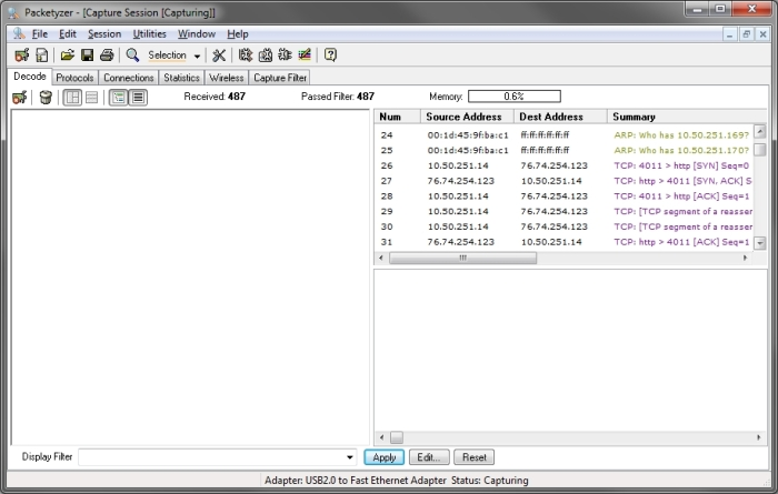 Packetyzer 5.0 user interface