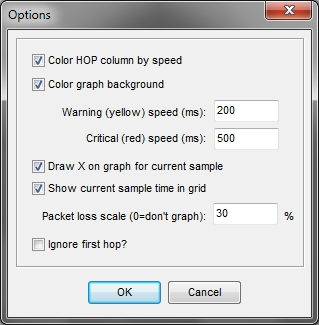 PingPlotter Freeware v1.30 options