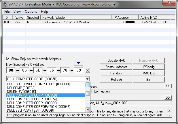 SMAC user interface