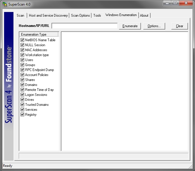 SuperScan v4.1 Windows-specific enumeration options