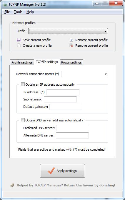 TCP/IP Manager v3.1.4 user interface