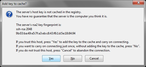 FireSSH key prompt