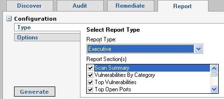Retina Report tab - Type selection