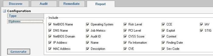 Retina Report tab - Option selection