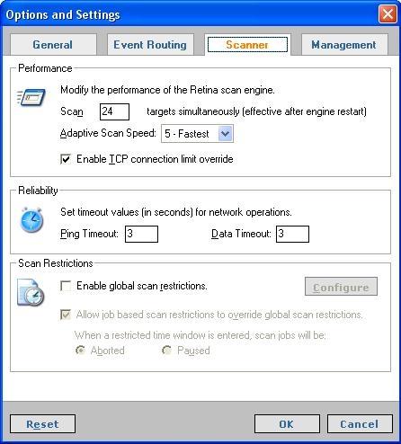 Retina Options interface