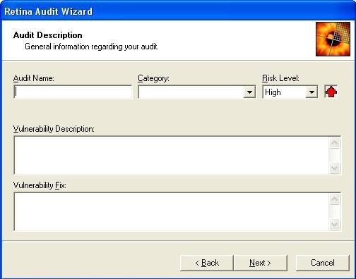 Retina audit wizard interface