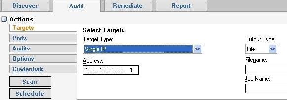 Retina Audit tab - Target selection