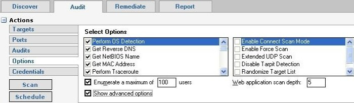 Retina Audit tab - Options selection