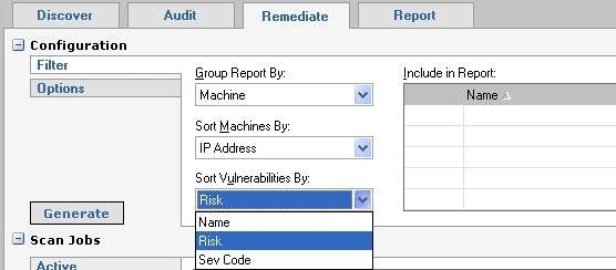 Retina Remediate tab - Filter selection