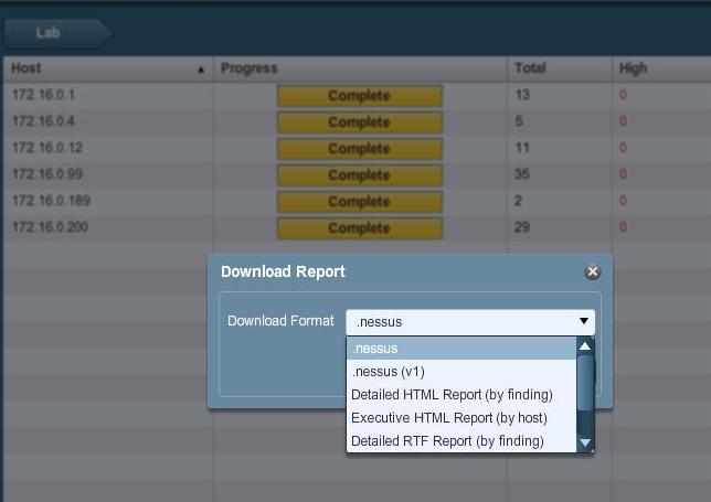 Nessus v4.x report generation options