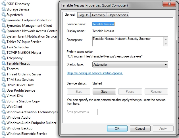 Nessus Windows service