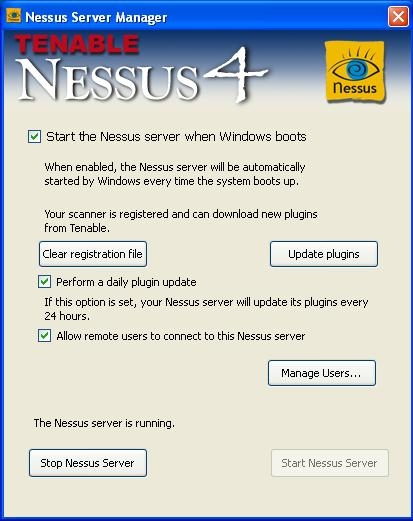 Nessus v4 Service Manager interface