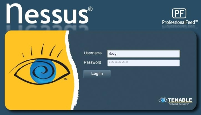 Nessus login interface