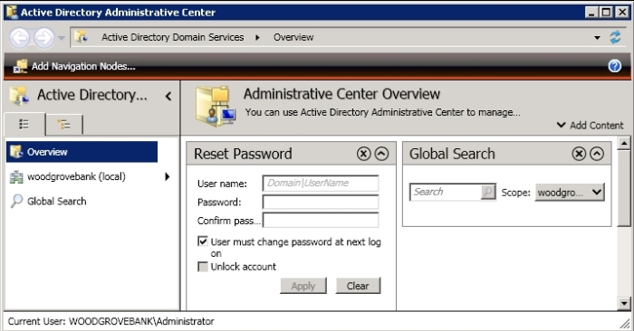 Network administration commands for Microsoft Windows and Active