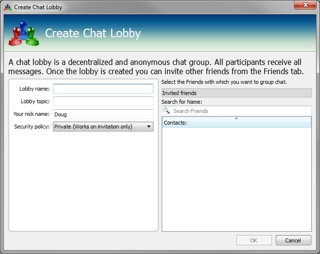 RetroShare create chat lobby