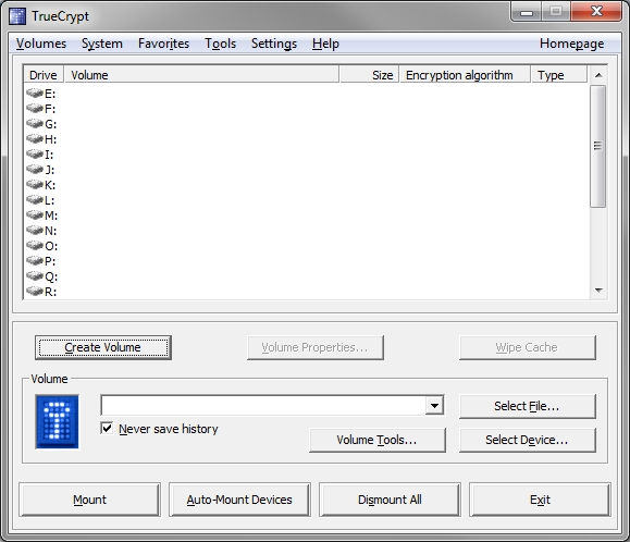 Truecrypt main interface on Windows