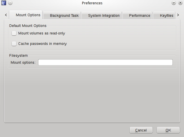 Truecrypt preferences interface