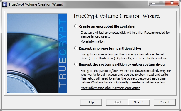 Truecrypt Volume Creation Wizard on Windows